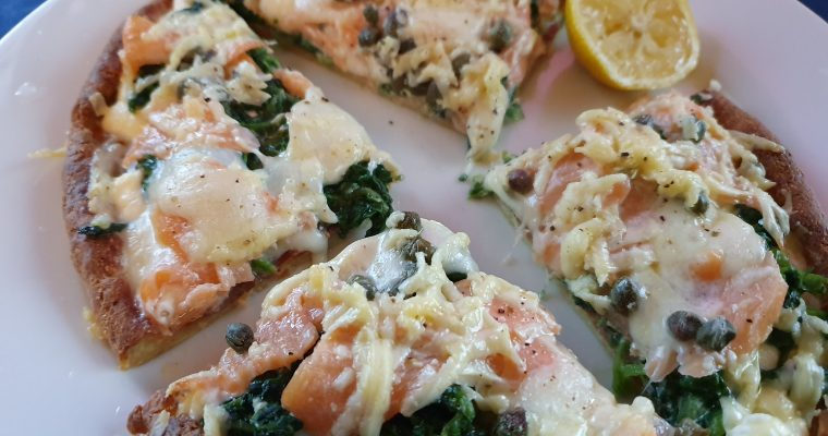Smoked Salmon, Spinach and Cream Cheese Pizza
