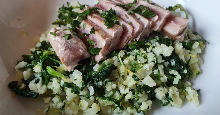 Tuna Steak with Garlic Buttered, Lemon & Spinach Cauliflower Rice