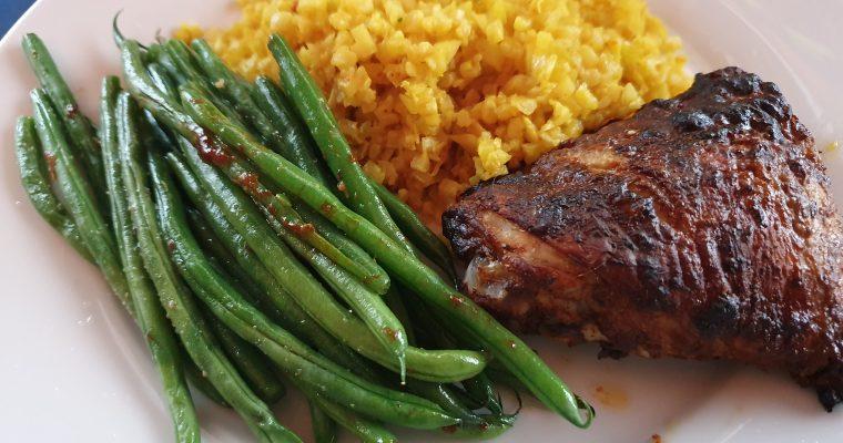 Tandoori Chicken, Pilau Caulirice & Garlicky Green Beans