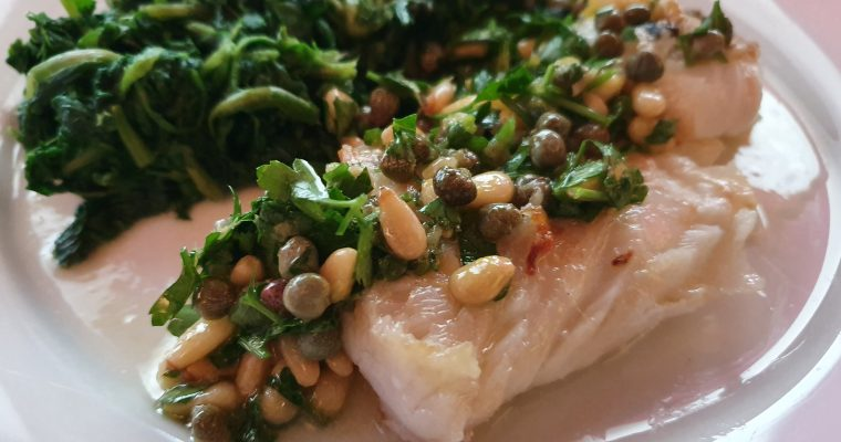 Panfried Cod with Caper Gremolata & Buttered Spinach