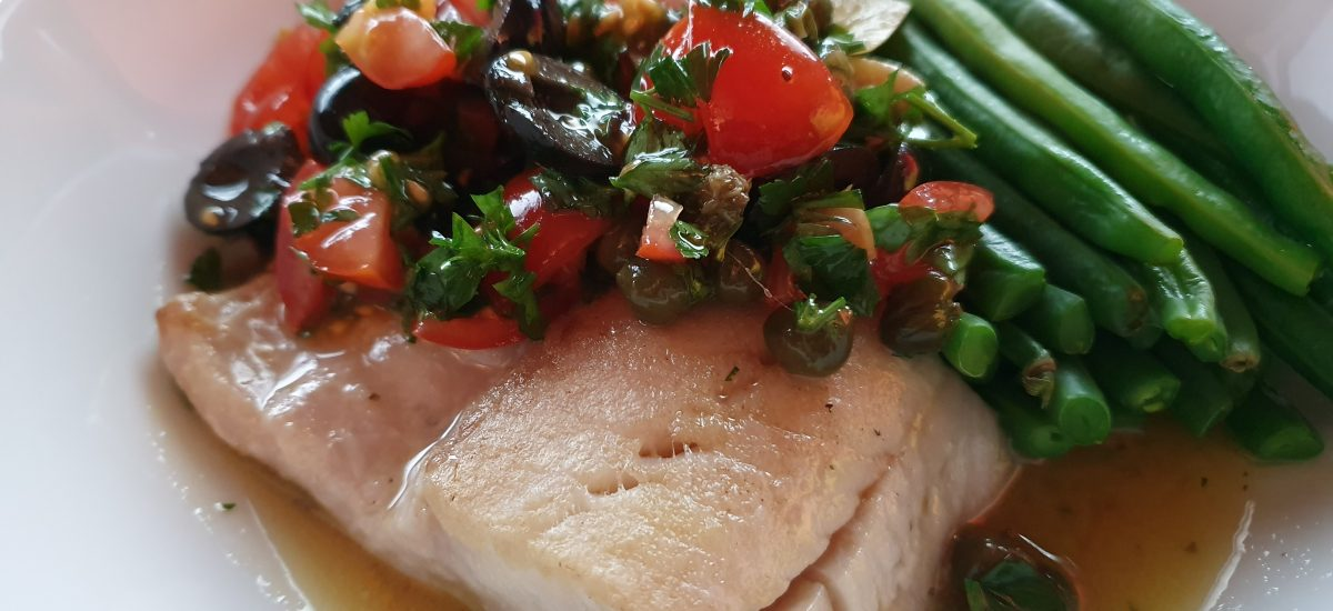 Panfried Coley with Tomato, Olive & Caper Sauce