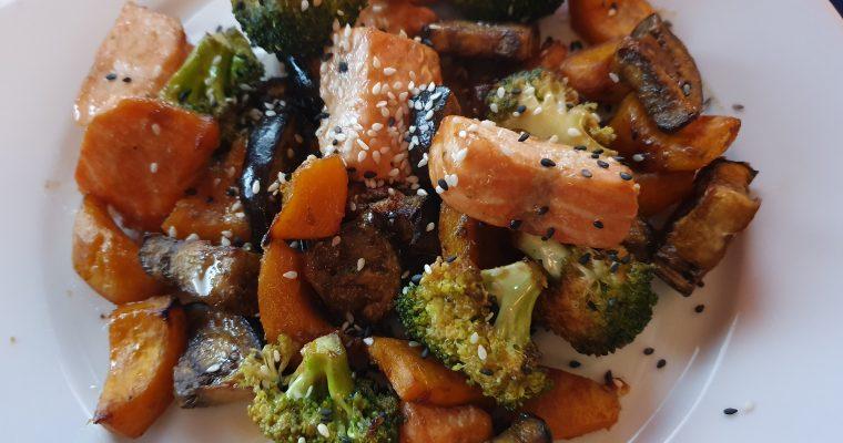 Miso-glazed Salmon, Aubergine, Broccoli & Pumpkin